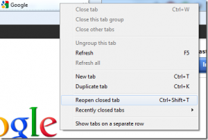 IE reopen closed tab