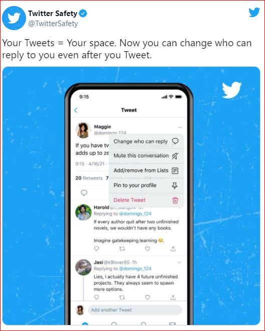 Twitter will allow you to change who can reply to a tweet after you post it